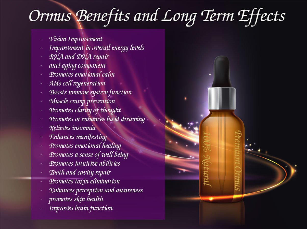 Ormus benefits and long term effects infographic
